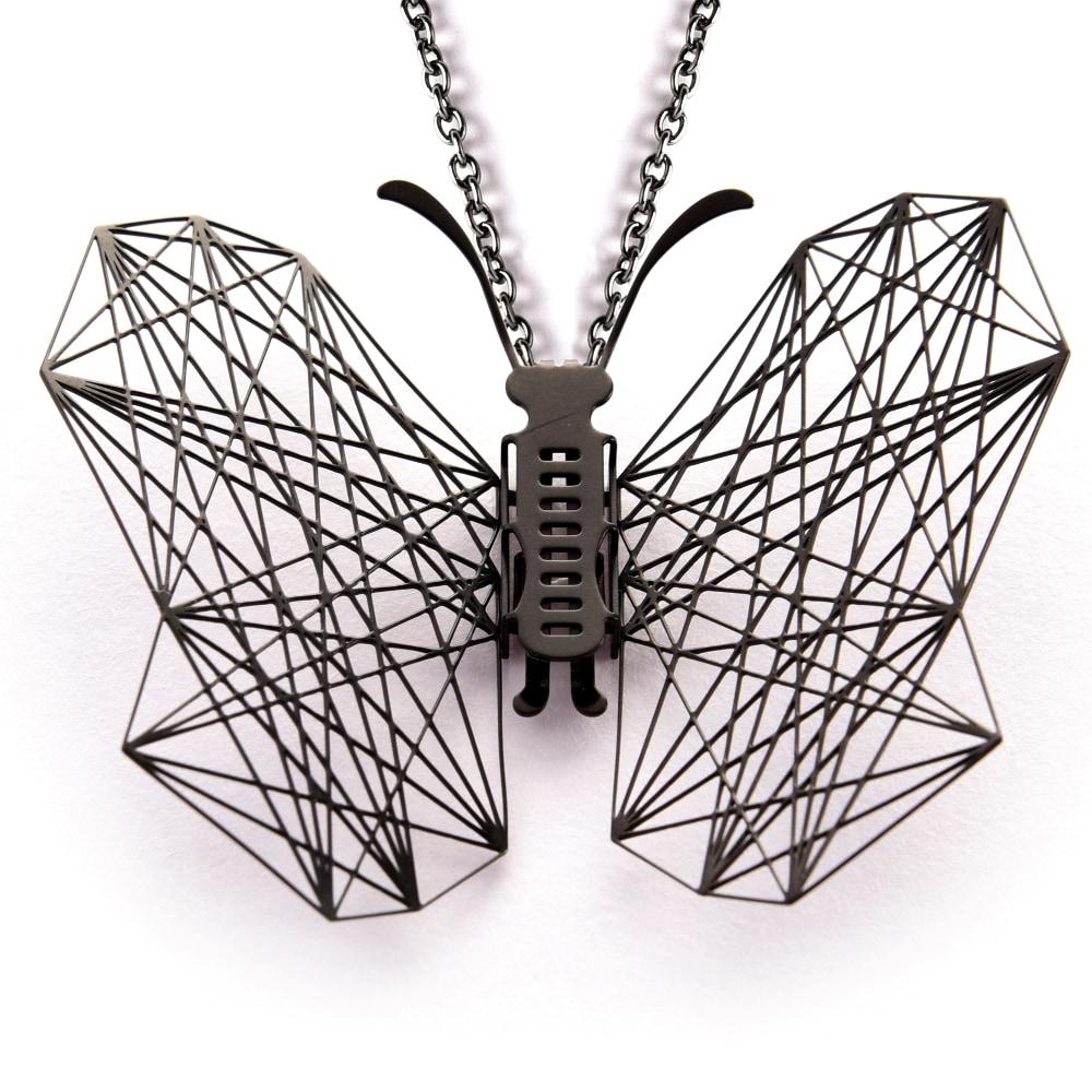 Magi-Steel|蝶@台灣 可換翅膀蝴蝶項鍊-幾何(黑色)
