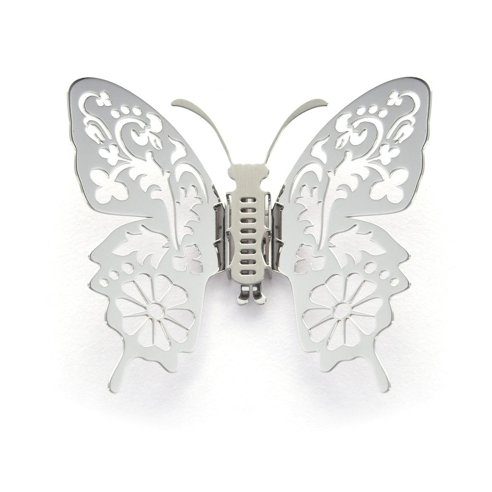 Magi-Steel|蝶@台灣 可換翅膀蝴蝶項鍊-台灣風景系列–花草印象(銀色)