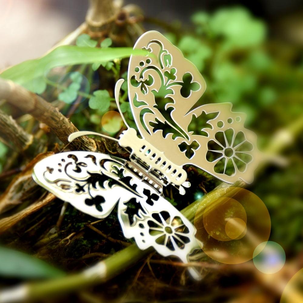 Magi-Steel|蝶@台灣 可換翅膀蝴蝶項鍊-台灣風景系列–花草印象(金色)