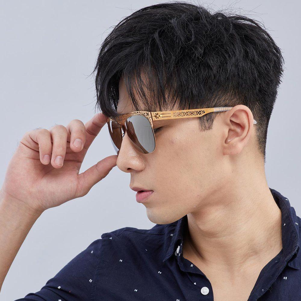 Magi-Steel 故宮授權商品  如意太陽眼鏡-金色 無螺絲 醫療級薄鋼