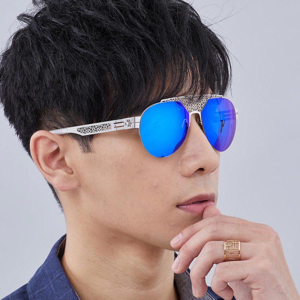 Magi-Steel 故宮授權商品  菱格紋太陽眼鏡-銀色 無螺絲 醫療級薄鋼