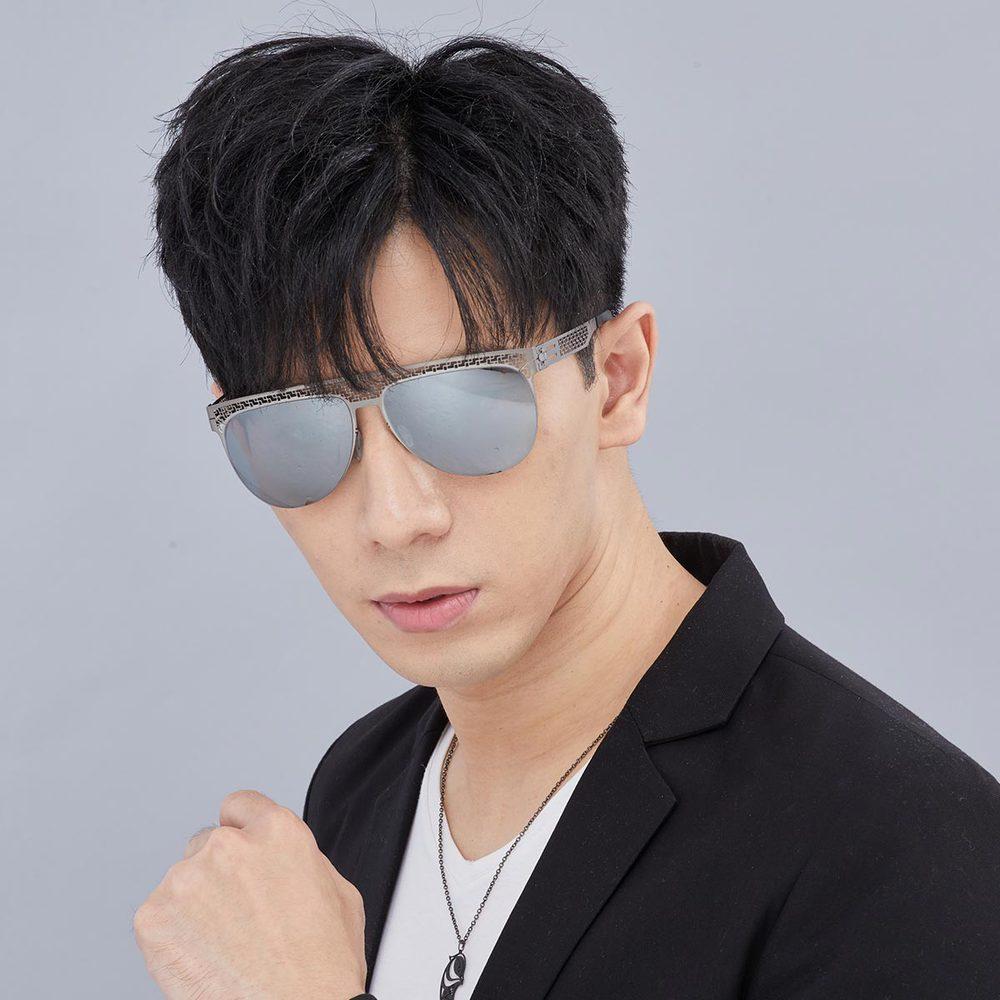 Magi-Steel 故宮授權商品 萬壽太陽眼鏡-霧銀色 無螺絲 醫療級薄鋼