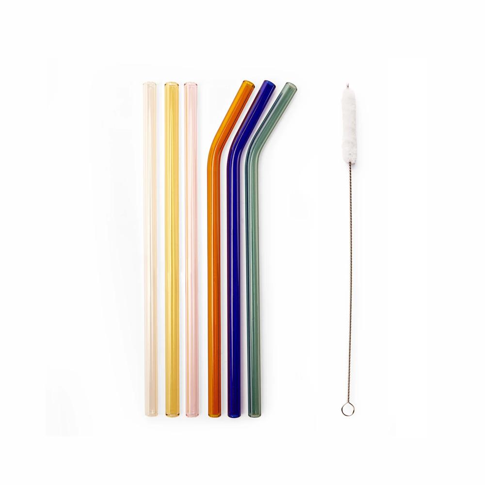 Kikkerland|非塗層彩色玻璃吸管6件組