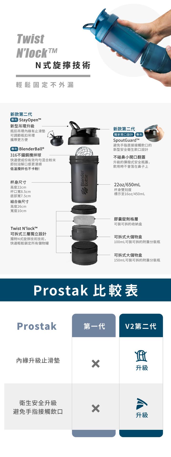 Blender Bottle|《ProStak V2系列》多層分裝可拆式運動搖搖杯