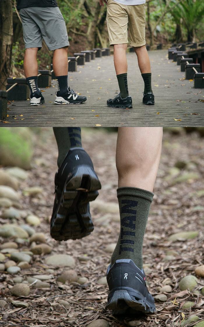 titan 太肯|五趾舒壓生活中筒襪 土黃(3雙)