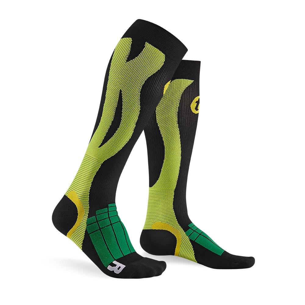 titan太肯 壓力運動襪-Elite-黑/綠色