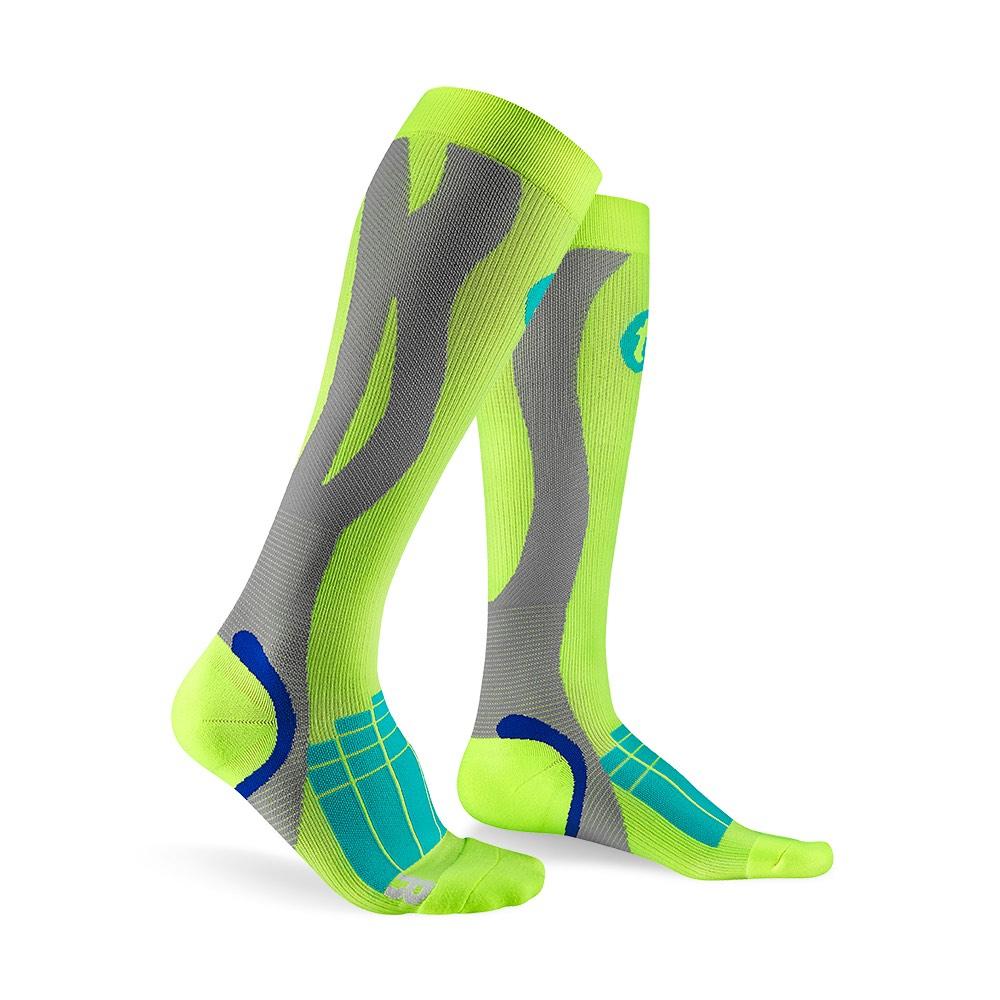 titan太肯 壓力運動襪-Elite-螢光黃/淺灰色
