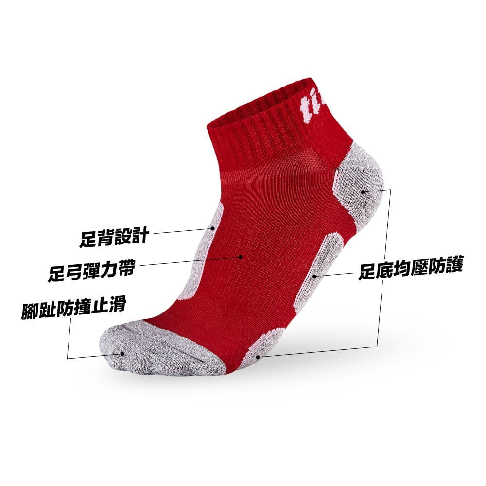 titan太肯  功能慢跑訓練短襪-紅竹炭(3入)