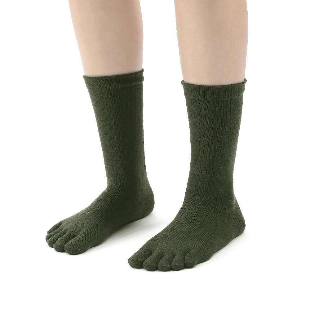 titan 太肯|五趾舒壓生活中筒襪 軍綠(3雙)