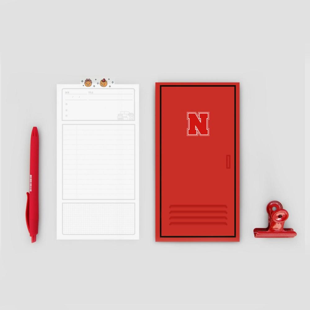 Kakao Friends 好朋友學院系列 鐵櫃筆記便條紙 資料萬用收納袋(L) 二入組