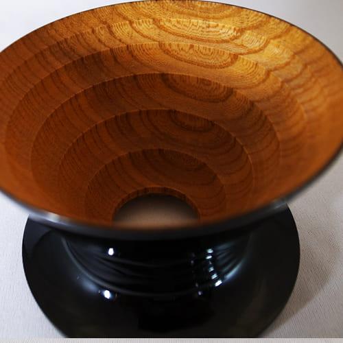 安清式|木製濾杯(漆) 黑x原木