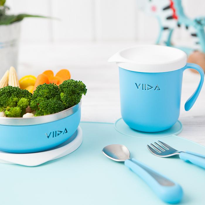 VIIDA|Soufflé 抗菌不鏽鋼餐具組 - 寶貝藍