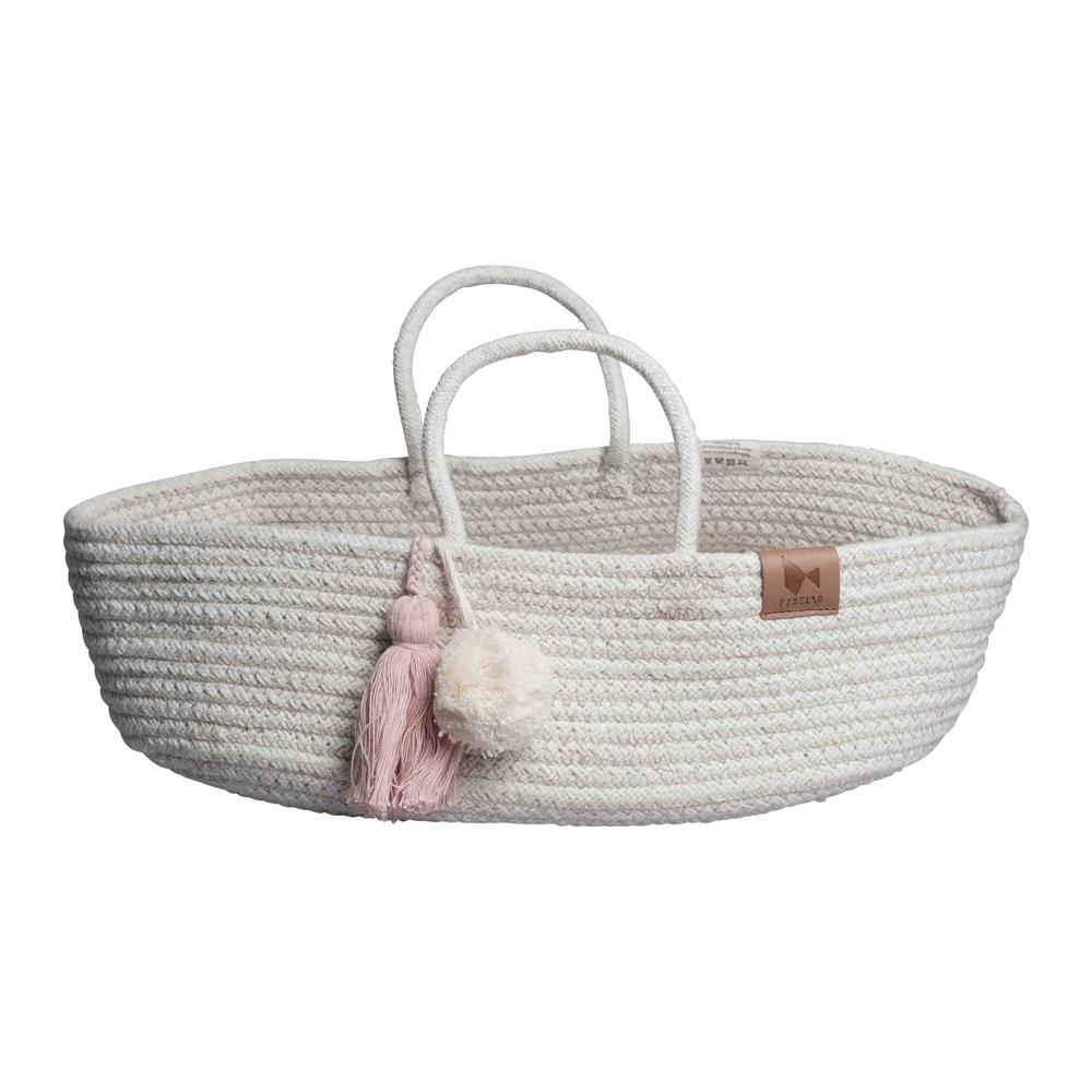Fabelab l 粉紅流蘇長型編織遊戲籃Rope Doll Basket Mauve