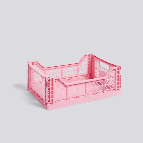 HAY | COLOUR CRATE M LIGHT PINK 粉色塑料折疊籃