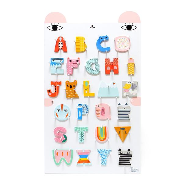 Petit Monkey|荷蘭Petit Monkey 木頭字母A~Z + ABC字母小熊掛架