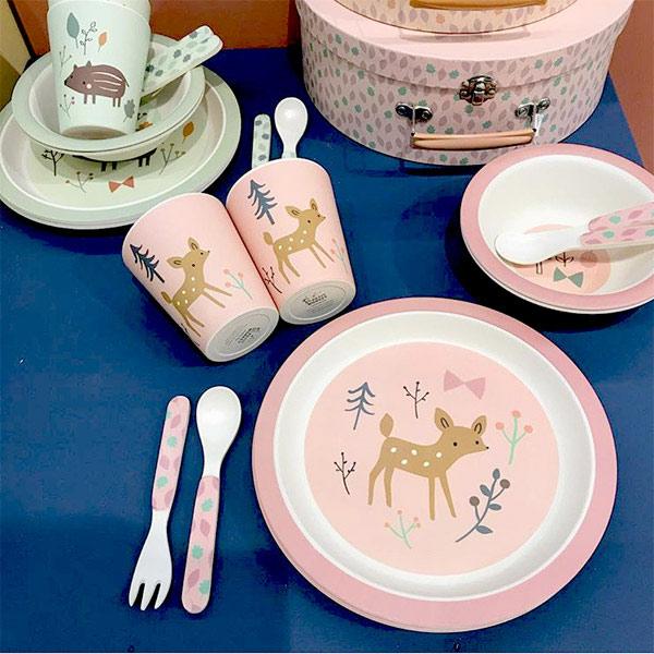(複製)Petit Monkey|竹纖維餐碗-粉藍蝸牛