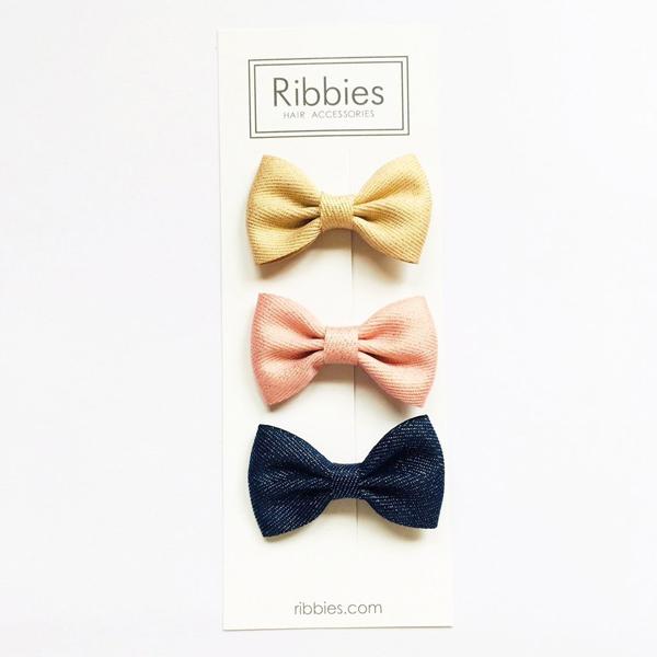 Ribbies|雪芙蘭緞帶閃亮蝴蝶結3入組-粉紅/金/海軍藍