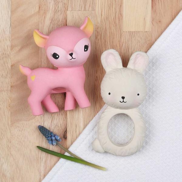 荷蘭A little lovely company|療癒粉紅小鹿橡膠玩具/固齒器