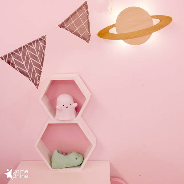 台灣SomeShine 木質剪影壁燈-土星