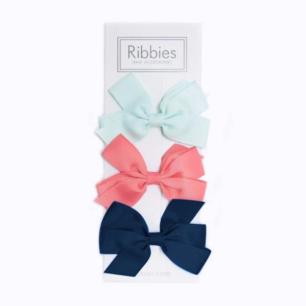 Ribbies|經典中蝴蝶結3入組-粉紅西瓜/深藍