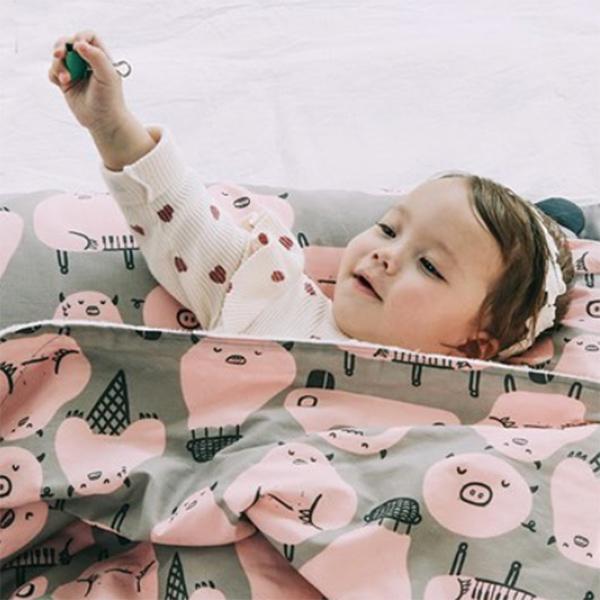(複製)Daby|點點舒眠毯-粉紅兔兔烏龜