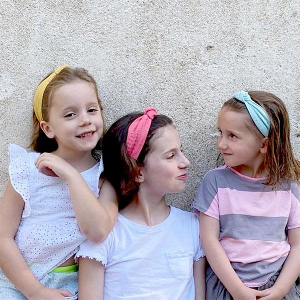 Ribbies|兒童寬版扭結髮帶-薄荷綠金點點
