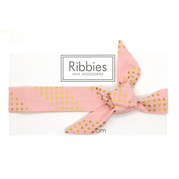 (複製)Ribbies|兒童蝴蝶結髮帶-珊瑚紅金點點