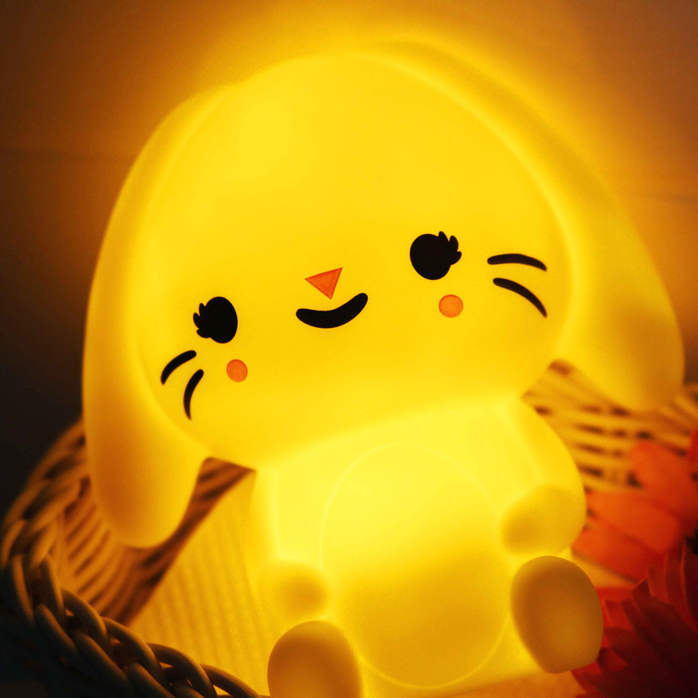 Petit Monkey 垂耳兔裝飾夜燈-粉黃