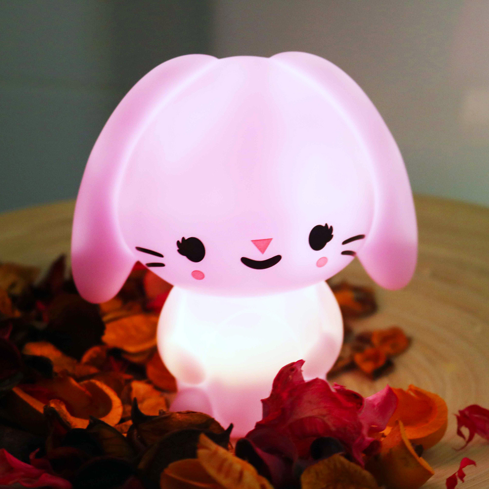 Petit Monkey 垂耳兔裝飾夜燈-粉紫
