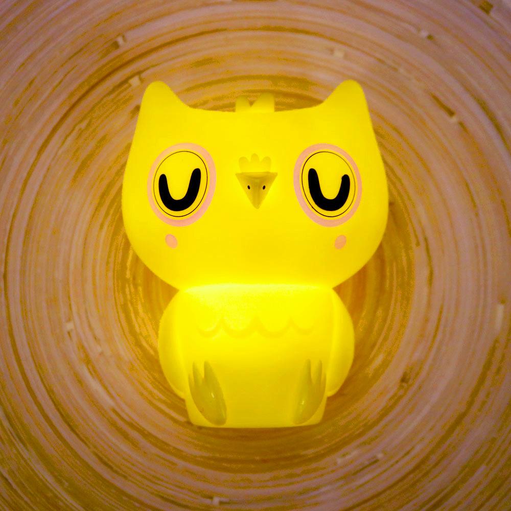 Petit Monkey|貓頭鷹裝飾夜燈-粉黃