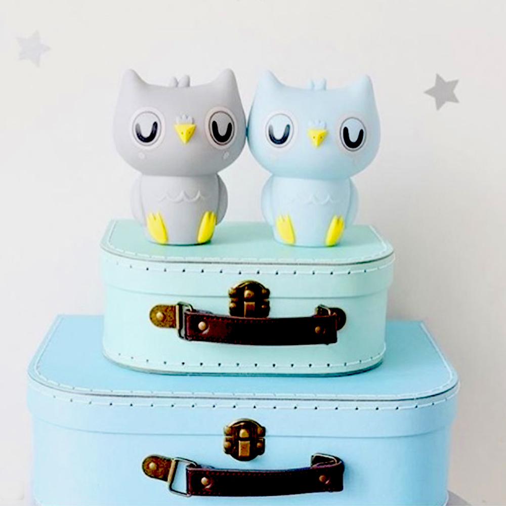 Petit Monkey 貓頭鷹裝飾夜燈-粉藍