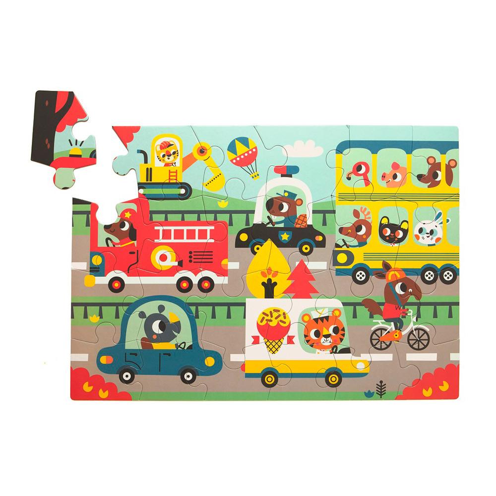 Petit Monkey|歡樂汽車道路拼圖(24片/3Y+)