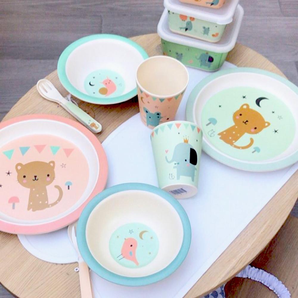 Petit Monkey|竹纖維餐碗-粉藍小鳥