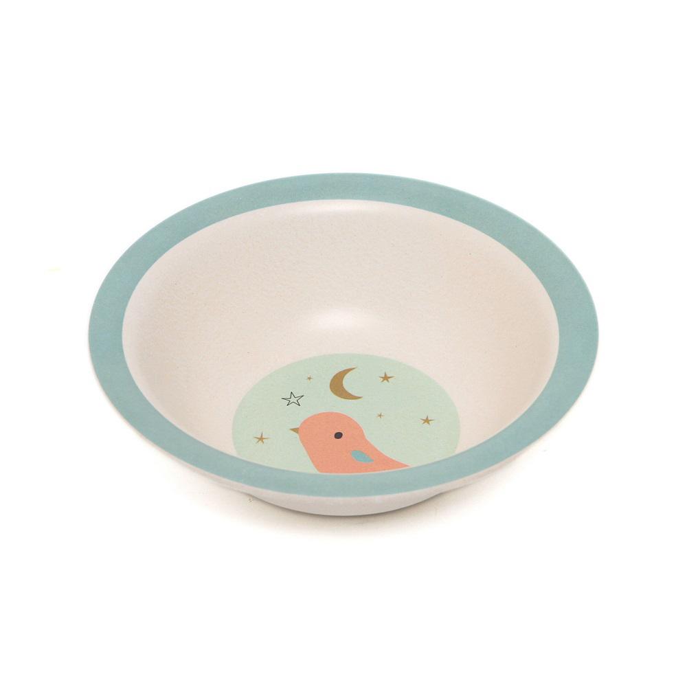 Petit Monkey 竹纖維餐碗-粉灰小鳥