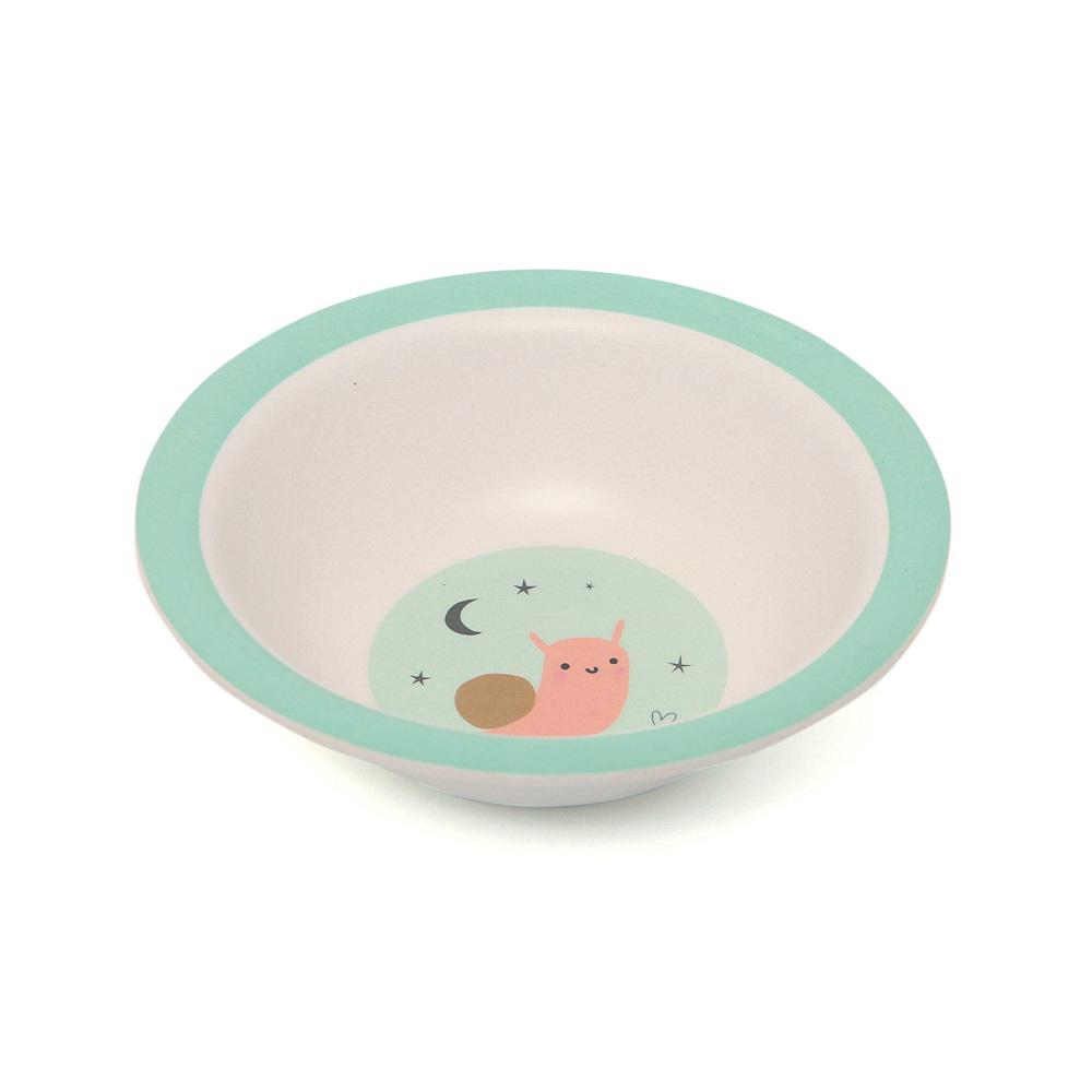 Petit Monkey|竹纖維餐碗-粉綠蝸牛