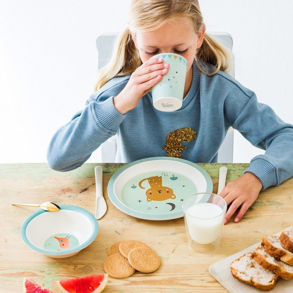 Petit Monkey|竹纖維餐碗-粉藍蝸牛