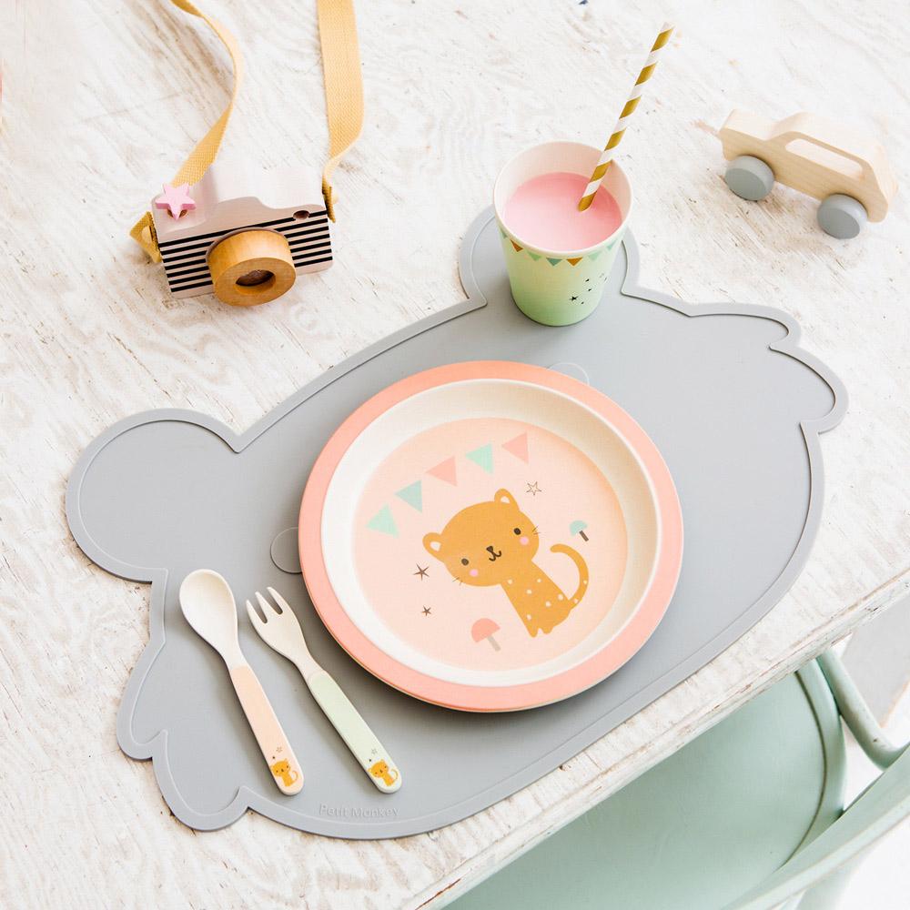 Petit Monkey 竹纖維叉匙組-粉紅花豹