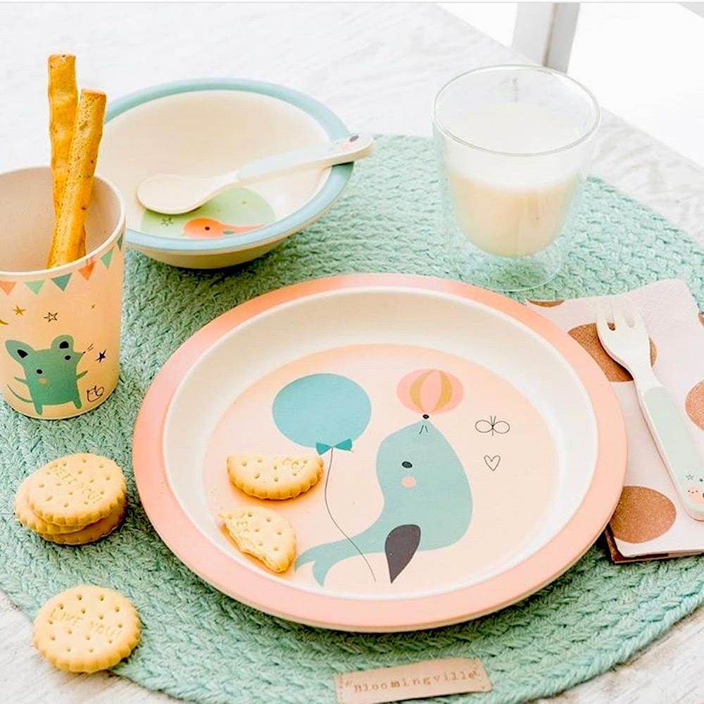 Petit Monkey|竹纖維餐盤-粉藍海豹