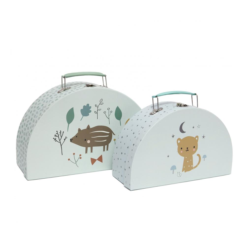 Petit Monkey|小野豬與可愛豹玩具收納手提箱(2入)