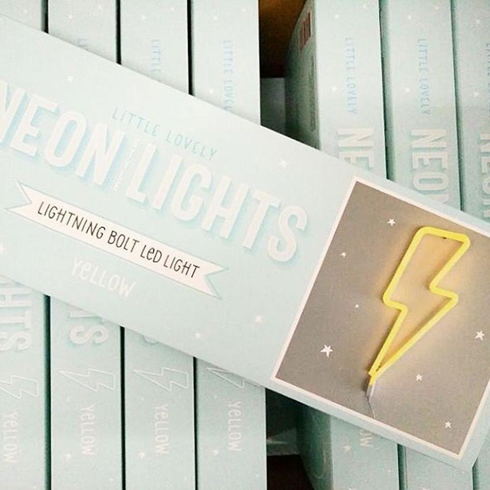 a little lovely company|閃電霓虹造型夜燈-粉藍