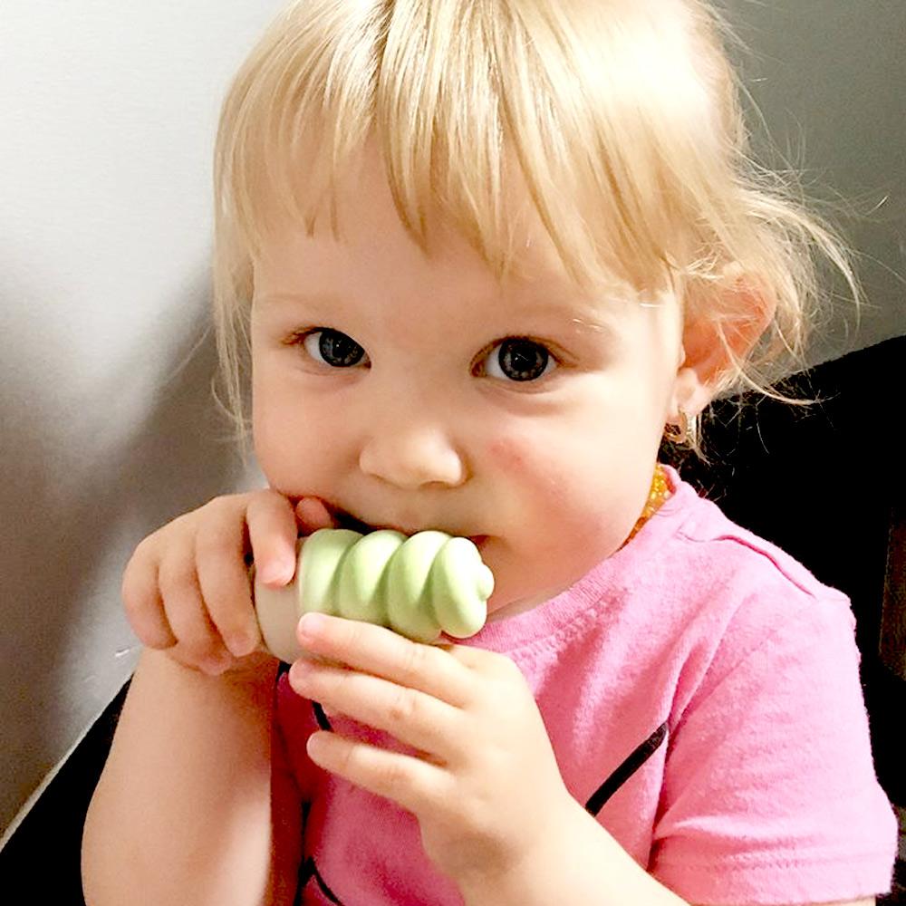 Sweetooth|香草冰淇淋固齒器(抹茶綠)+防掉帶(綠色)-共2入組