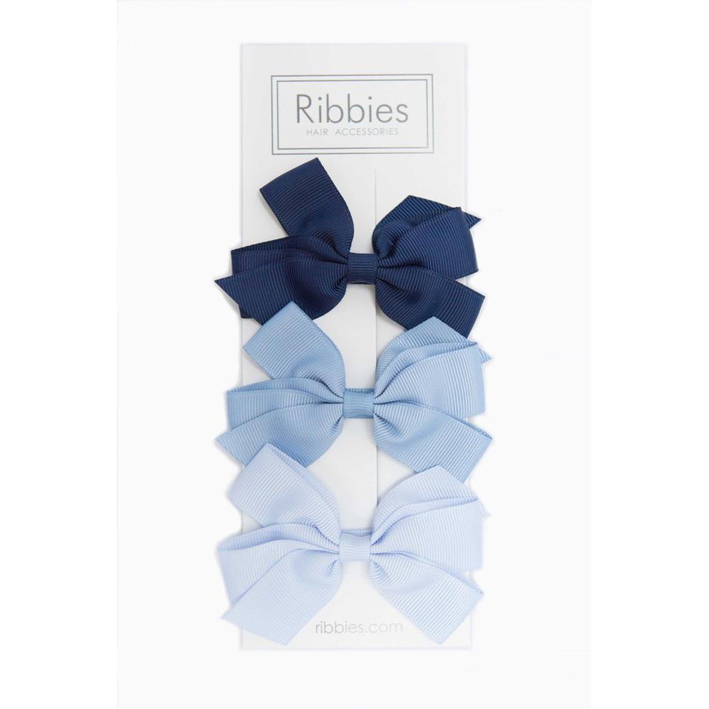Ribbies|經典中蝴蝶結3入組-藍色系列
