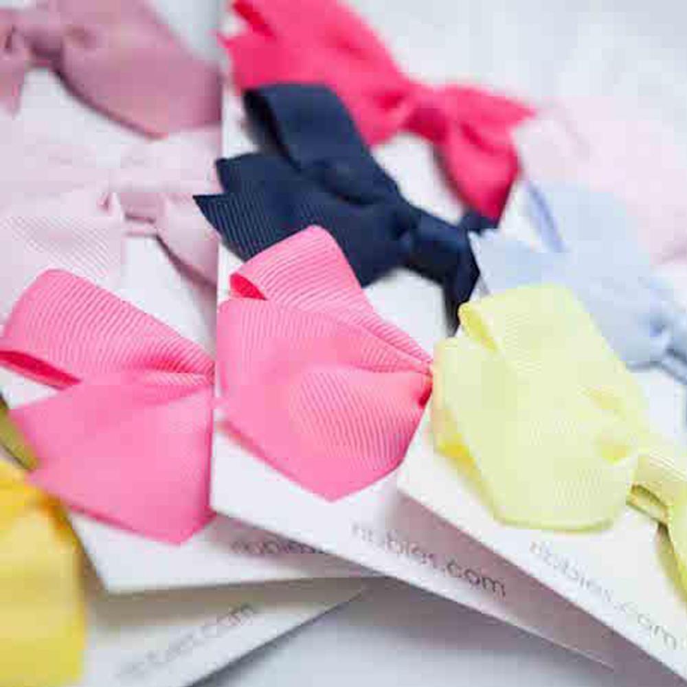 Ribbies|經典中蝴蝶結3入組-粉紅/海軍藍