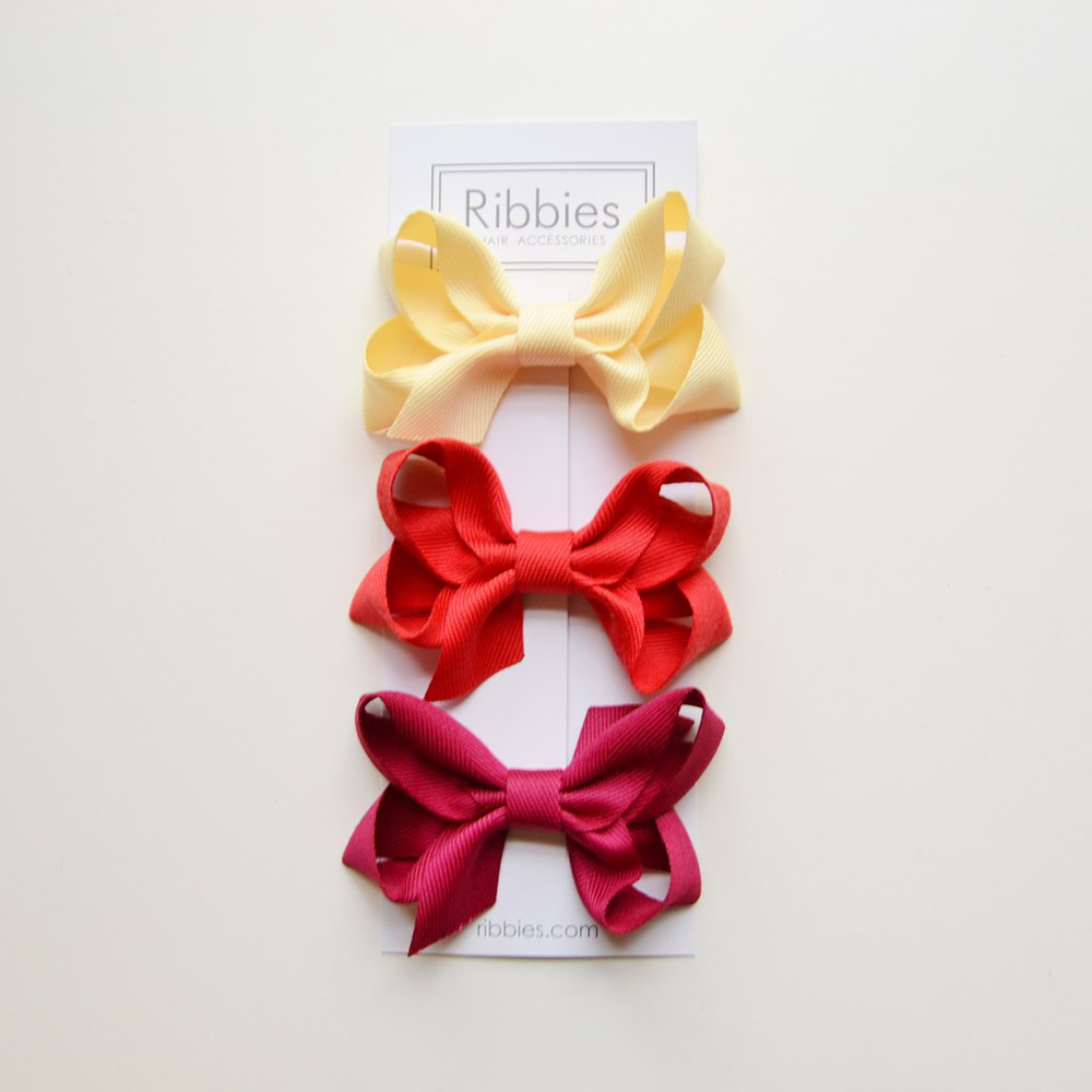 Ribbies|雙層中蝴蝶結3入組-黃紅系列