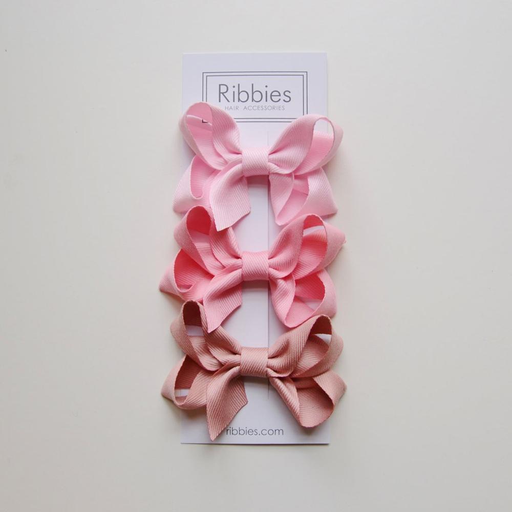 Ribbies|雙層中蝴蝶結3入組-粉紅系列