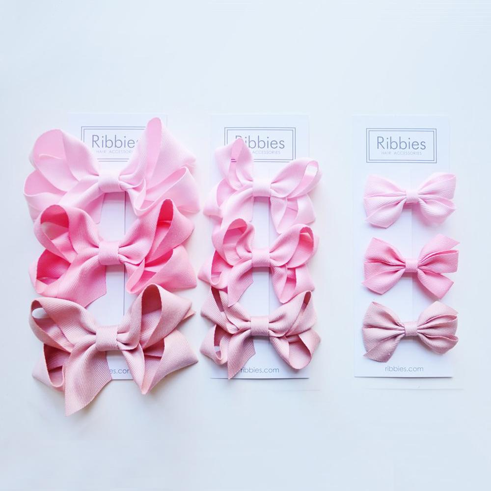 Ribbies 雙層中蝴蝶結3入組-粉紅系列