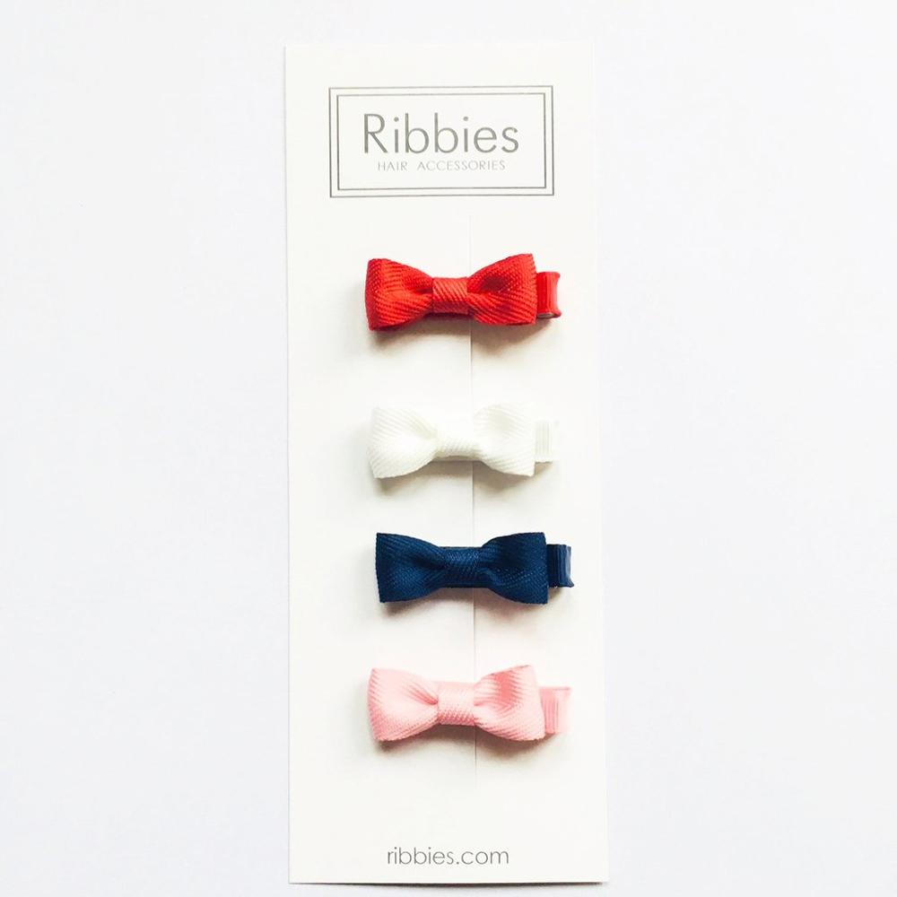 Ribbies 雪芙蘭緞帶迷你蝴蝶結4入組-經典
