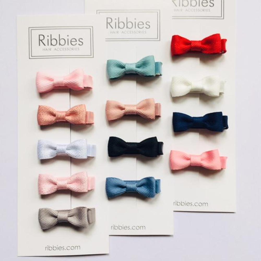Ribbies|雪芙蘭緞帶迷你蝴蝶結4入組-經典