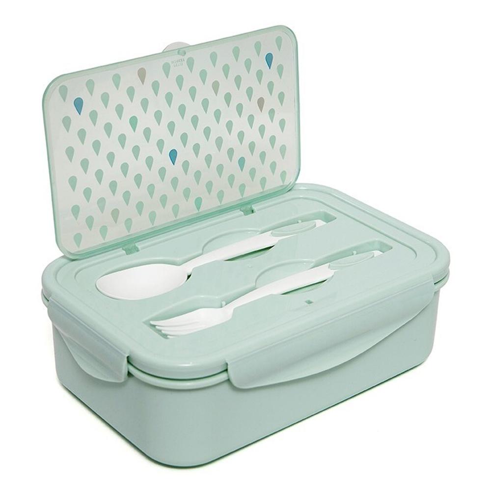 Petit Monkey 叉匙野餐盒-粉綠水滴點點
