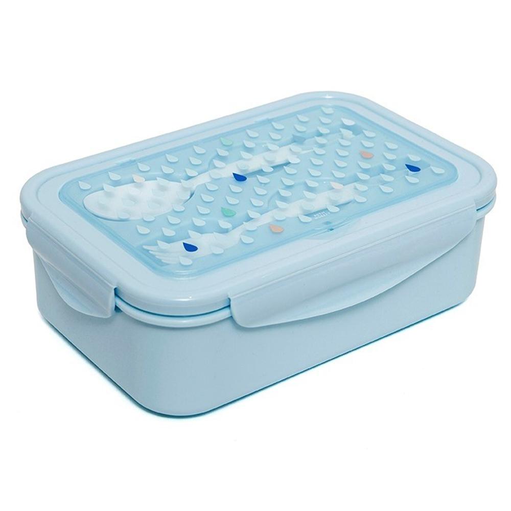 Petit Monkey|叉匙野餐盒-粉藍水滴點點